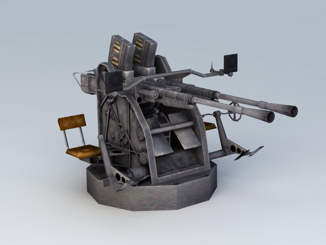 25 Mm Anti-Aircraft Gun 3d model