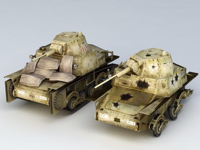 WW2 L6/40 Tank Wreck 3d model