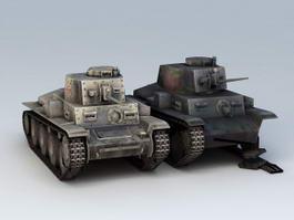 Panzerkampfwagen 38T German Tank Wreck 3d model