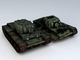 WW2 KV-1 Heavy Tank Wreck 3d model
