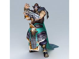 Ancient Chinese Warrior Rigged & Animated 3d model