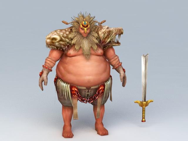 Fat Barbarian Warrior 3d model