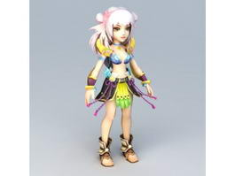 Pretty Anime Girl Fighter 3d model
