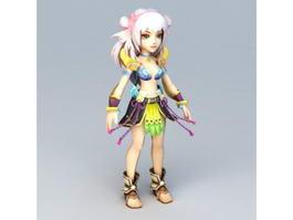Pretty Anime Girl Fighter 3d model