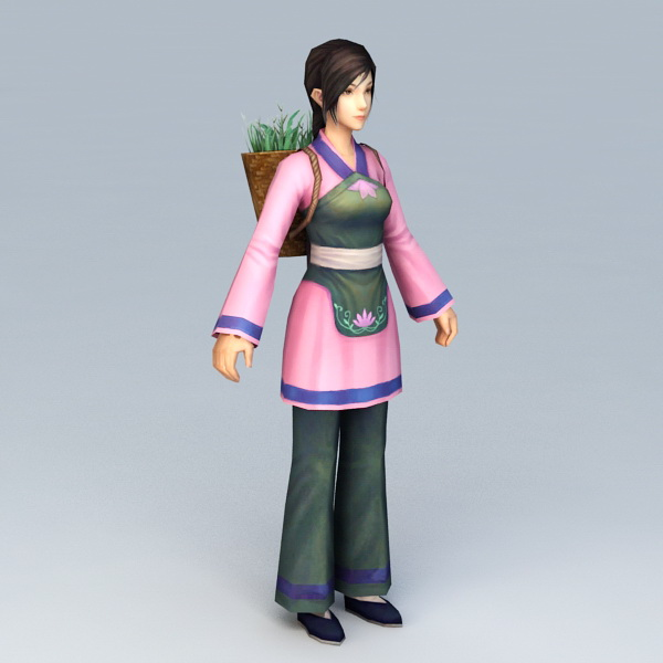 Ancient Chinese Peasant Girl 3d model