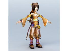 Traditional Japanese Anime Girl 3d model