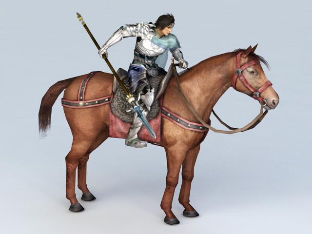 Warrior Riding Horse 3d model