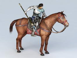 Warrior Riding Horse 3d model