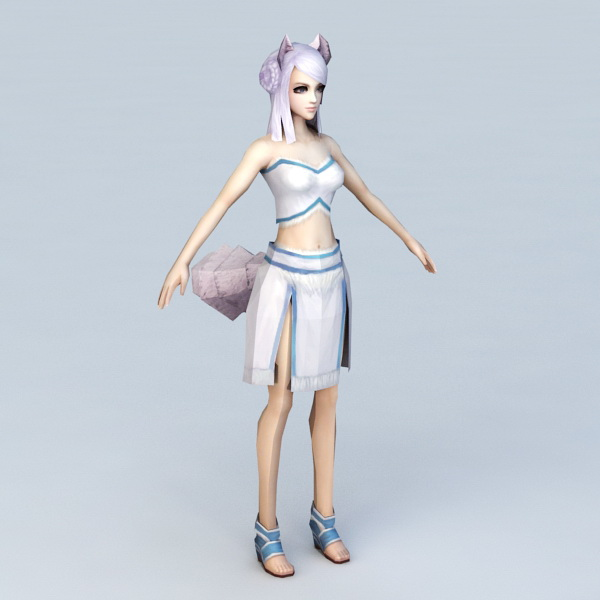 Anime Fox Girl with Purple Hair 3d model