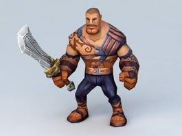 Medieval Robber Man and Sword 3d model