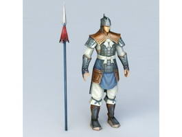 Ancient Chinese Soldier with Spear 3d model