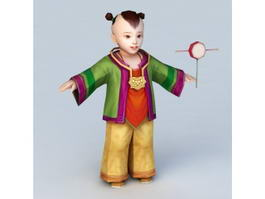 Traditional Chinese Toddler Boy 3d model