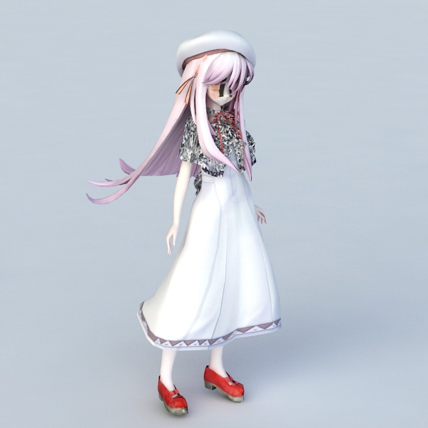 Cute Shy Anime Girl 3d Model 3ds Max Files Free Download Modeling