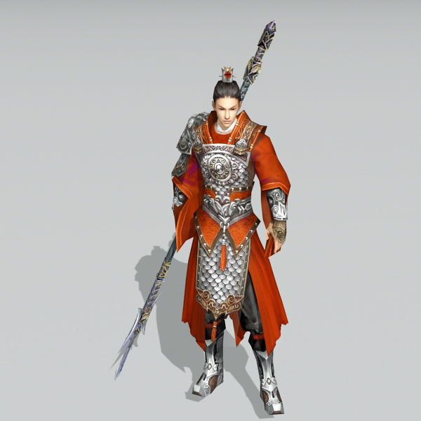 Asian Male Warrior with Spear 3d model