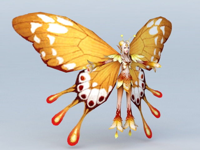 yellow butterfly fairy 3d model 3ds max files free download