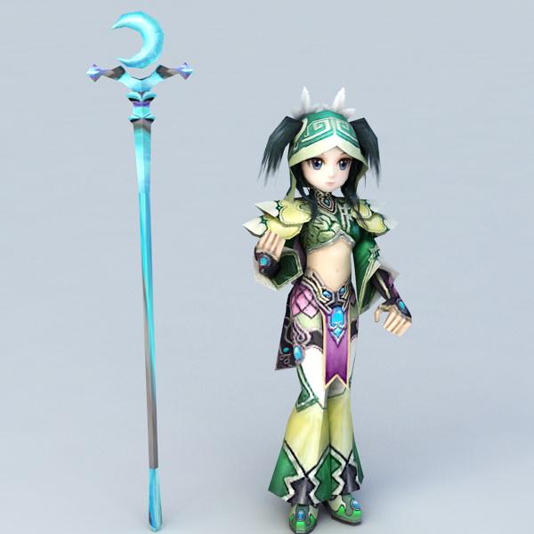 Anime Mage Girl 3d model