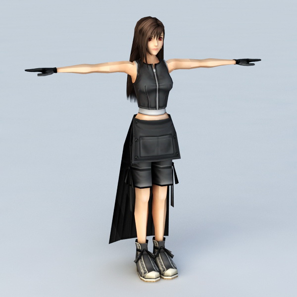 Anime Girl with Black Dress 3d model