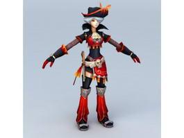 Anime Pirate Girl 3d model