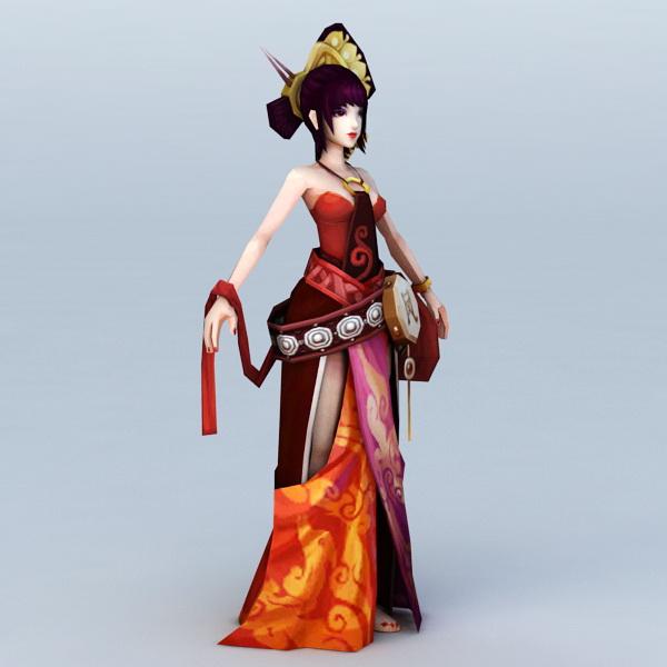 Chinese Anime Girl Dancer 3d model 3ds Max,Autodesk FBX files free
