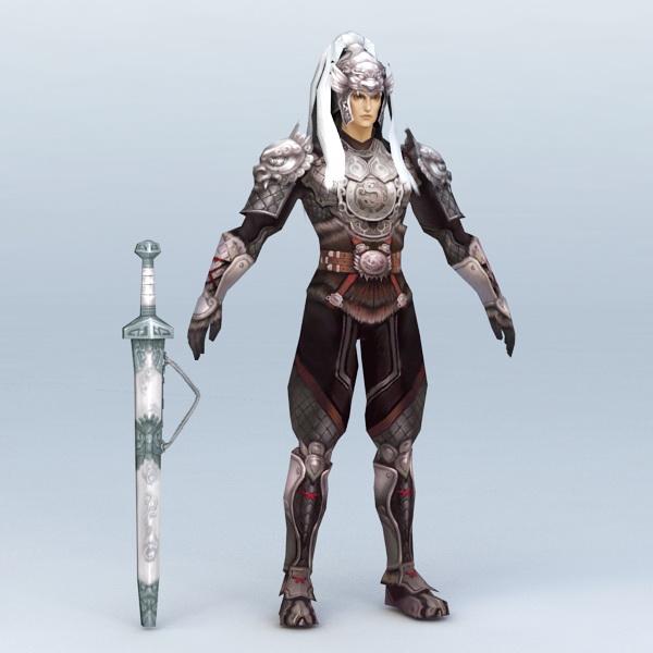 White Hair Male Warrior 3d model