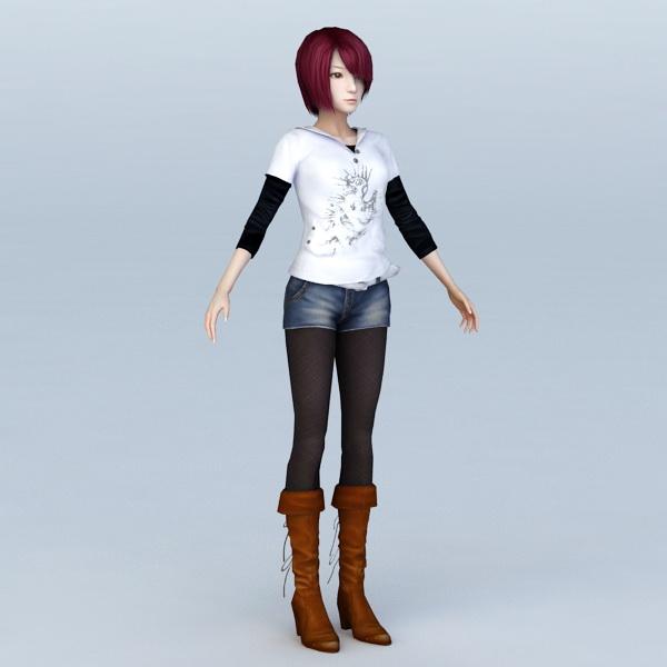 Fashion Girl T-Pose 3d model