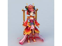 Anime Chinese Bride 3d model