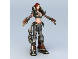 Steampunk Warrior Girl 3d model