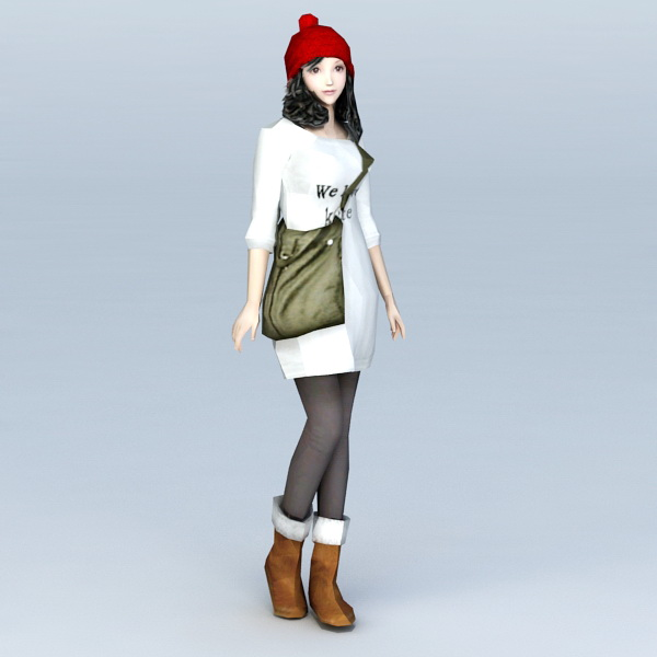 High School Preppy Girl 3d model