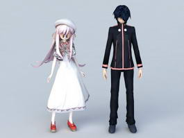 Cute Anime Couple 3d model