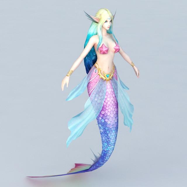 Elf Mermaid Character 3d model