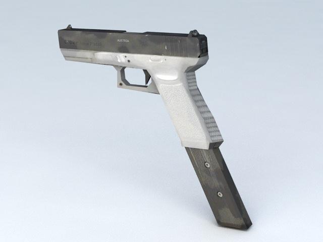 Gluke Pistol with Extended Clip 3d rendering