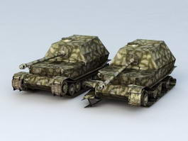 Elefant Tank Destroyer and Damaged 3d model