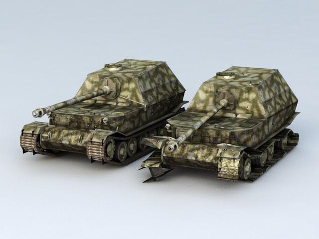 Elefant Tank Destroyer and Damaged 3d model