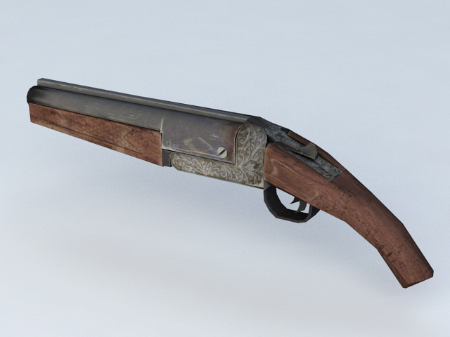Old Flintlock Pistol 3d model