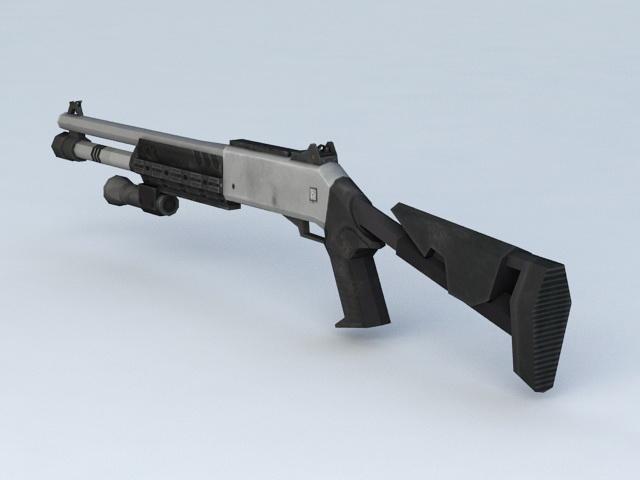 Tactical Shotgun Scope with Laser 3d model