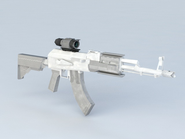 Assault Rifle with Laser Scope 3d model