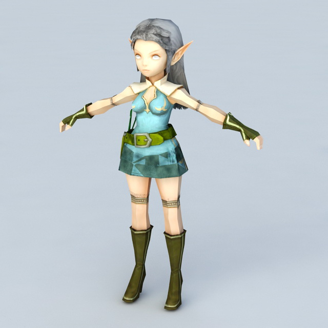 Anime Elf Girl Archer 3d Model 3ds Max Files Free Download