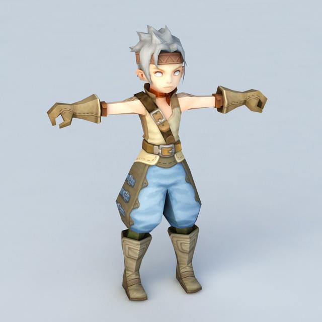 Anime Warrior Boy Chibi 3d Model 3ds Max Files Free