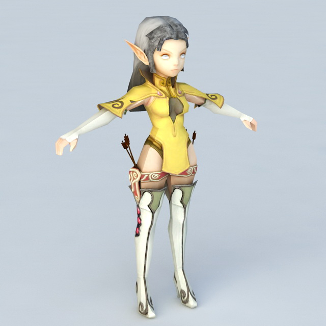 Anime Female Elf Archer 3d model