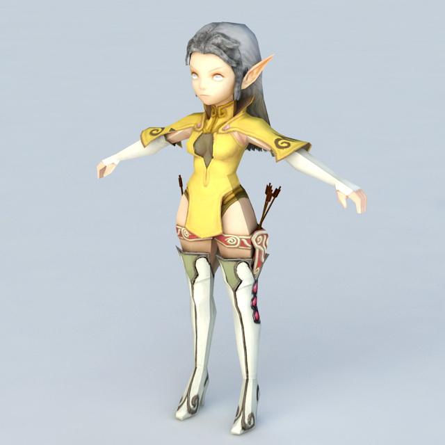 Anime Female Elf Archer 3d Model 3ds Max Files Free