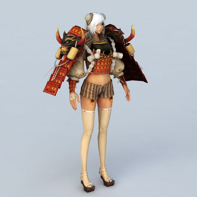 Female Samurai Character 3d model