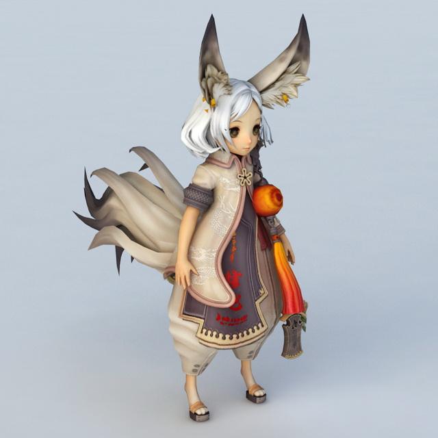 Cute Fox Girl 3d model