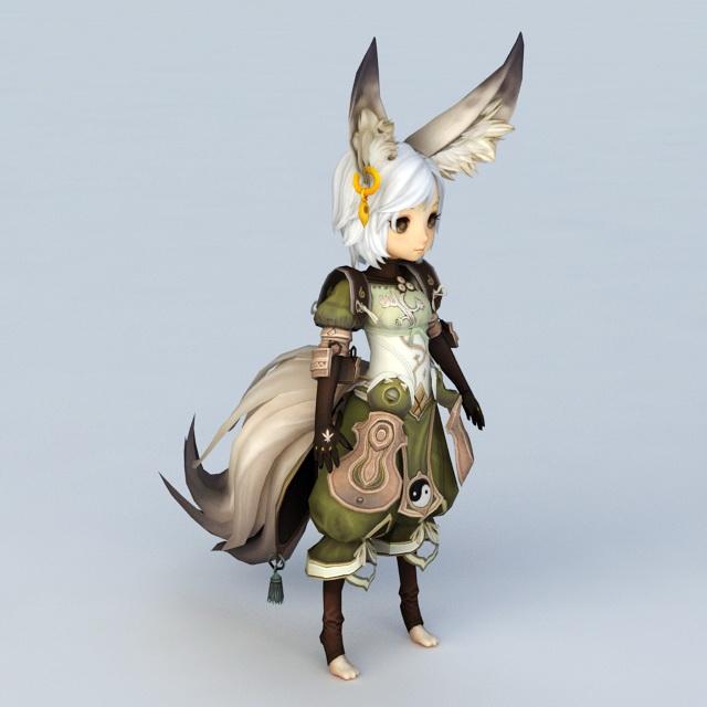 Fox Spirit Anime Girl 3d model