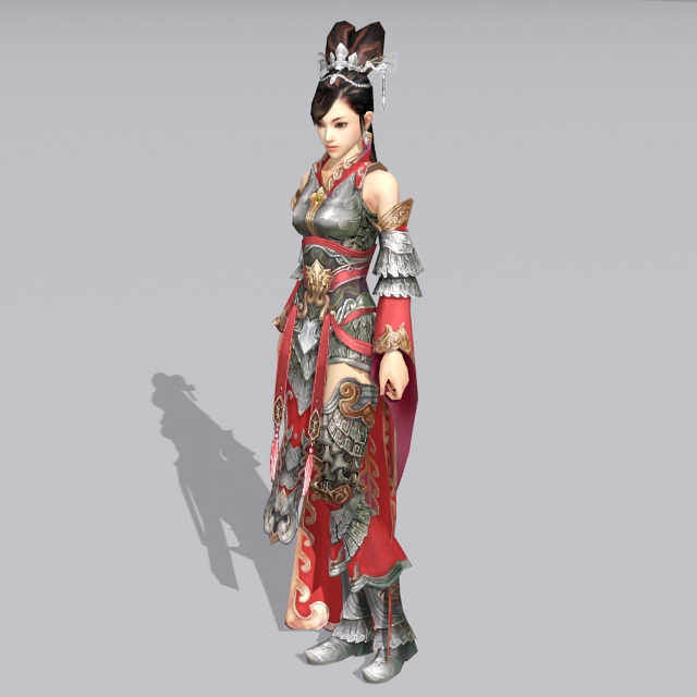 Female Chinese Warrior 3d Model 3ds Max Files Free