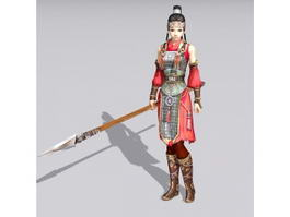 Ancient Chinese Soldier Woman 3d model