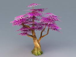 Anime Purple Tree Low Poly 3d model