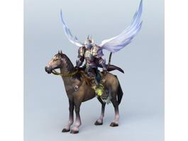 angel warrior riding horse 3d model