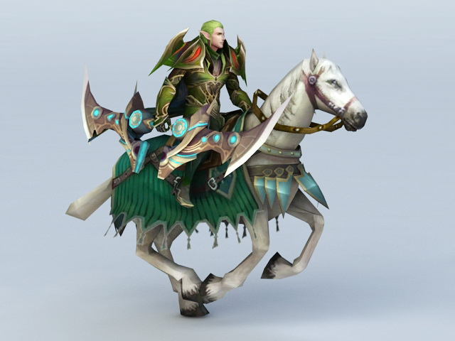 Male Elf Warrior Riding Horse 3d model