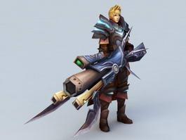 Male Warrior with Gun 3d model