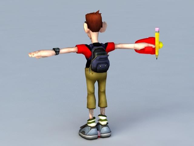 Cartoon School Student 3d model - CadNav